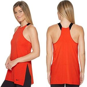 Nike High Side Slit Orange Training Tank